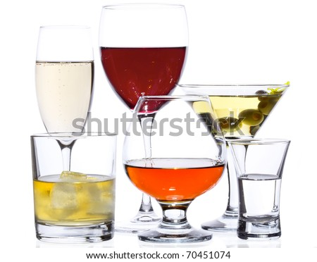 Popular drinks isolated on white champagne red wine for Most popular whiskey drinks