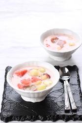 Popular Hongkong Dessert, Ximilu or Es Campur Hongkong, Made of Jelly, Tapioca Pearl, Water Melon, Melon, Sweet Basil Seed (Selasih), and Coconut Milk or Condensed Milk
