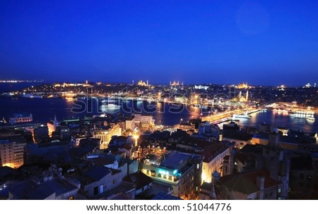 Popular places of Istanbul from Galata Tower