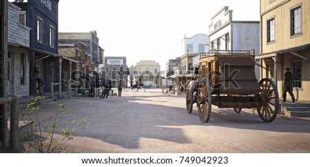 Populated western town with various businesses . 3d rendering