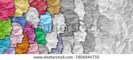 Population decline or declining fertility rate and demographic trends as a diverse crowd reduced or a symbol for lost generation and attendance reduction losing followers in a 3D illustration style. Сток-фото ©