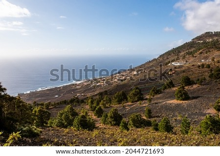 Populations and several towns on the west coast of the island of Palma, in the Canary Islands. Cumbre Vieja Natural Park, in the area of the volcanoes. Foto stock ©