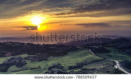 Por do sol na serra do Caramulo