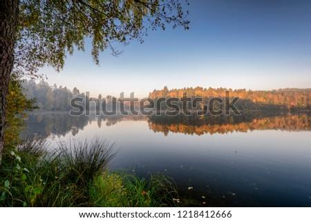 Poranne mgły nad jeziorem  Zdjęcia stock ©