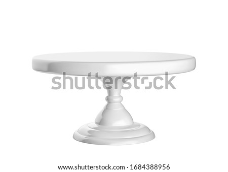 Porcelain cake stand isolated on white background. 3D rendering