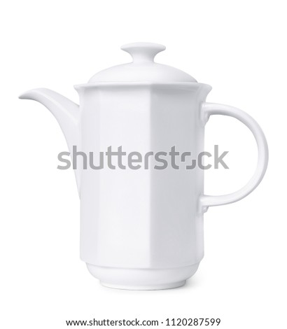 Porcelain coffee pot isolated on white #1120287599