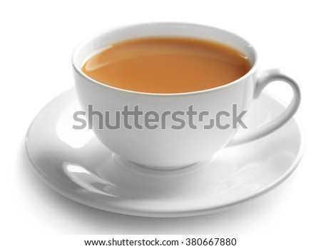 Porcelain cup of tea with milk isolated on white background #380667880