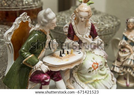 Porcelain figurine, antique vintage ceramic collectible decor, couple playing chess