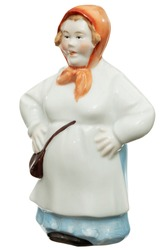 Porcelain figurine of a woman, the fisherman's wife, isolated on white background