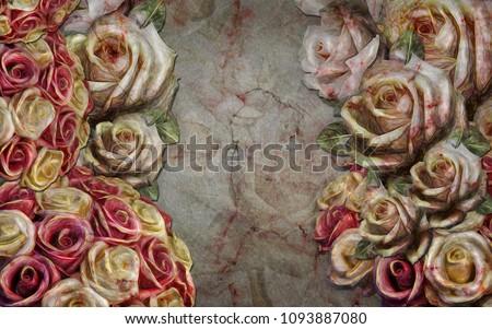 Porcelain flowers on a marble slab. Interior design. 3D rendering.