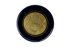porcelain plate glazed in cobalt blue in the middle a surface of gold with ornaments