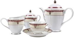porcelain tea set on an isolated background
