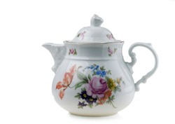 Porcelain teapot isolated on white background.