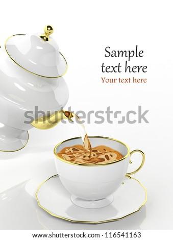 Porcelain teapot pouring tea into cup