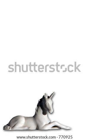Porcelain unicorn figurine over white with slight shadow. - stock photo