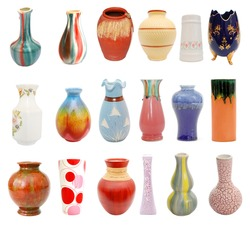 Porcelain vases collage in the world