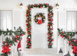 Porch of house with beautiful Christmas decor
