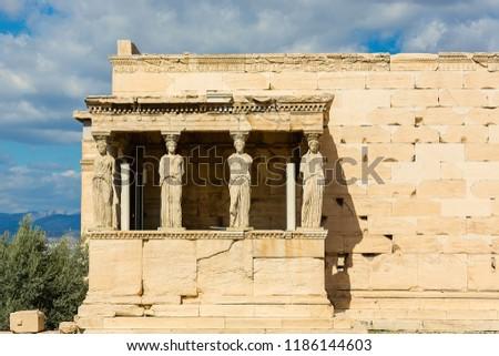 Porch of the Caryatids at Erechtheion temple,Acropolis of Athens,Greece