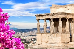 Porch of the Caryatids at Erechtheion temple, Acropolis of Athens, Greece. The Erechtheion or Erechtheum is an ancient Greek temple of the Acropolis of Athens in Greece.