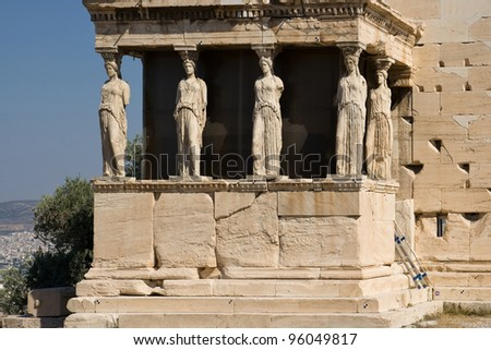 Porch of the Caryatids of the Erechthion temple at Acropolis, Athens, Greece.