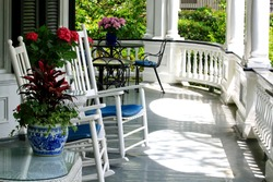 porch with rocking chairs in Charleston