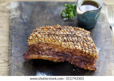 Pork belly with crispy crackling