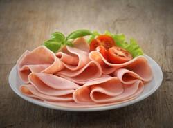 pork ham slices on plate