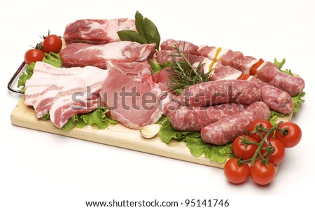 Pork  meat for barbecue on wooden board