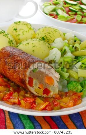 Pork meat stuffed vegetables