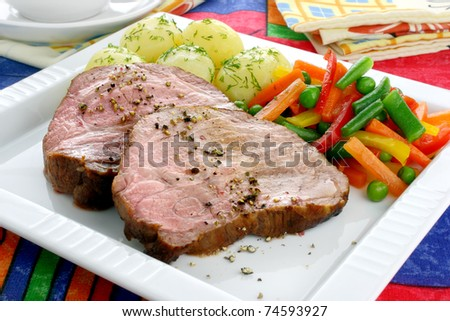 Pork meat with vegetables