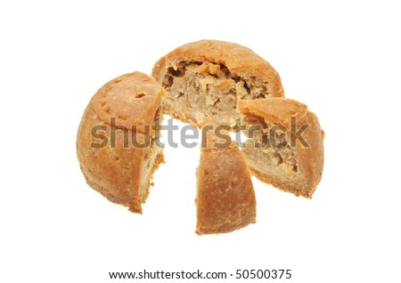 Pork pie cut into sections to illustrate a pie chart