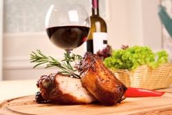 Pork ribs and wine