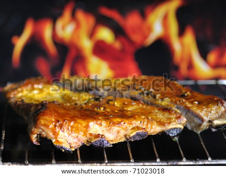 pork ribs on a grill