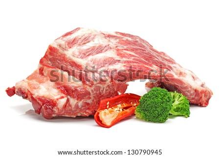 Pork ribs on white background - stock photo