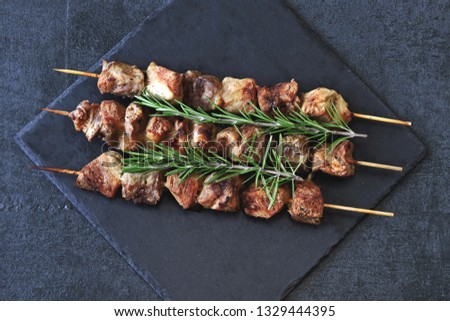 Pork shashlik with rosemary. Fresh flavored kebab. Keto diet. Pegan diet. Paleo diet.