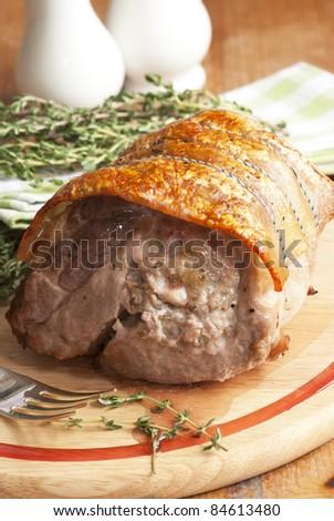 Pork shoulder with apple stuffing