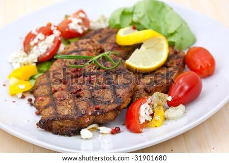 pork steak,grilled with salad