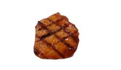 Pork steak isolated on white background,Jack food,BBQ,sauce,grill,burn,black,Grilled pork steak isolated on white background