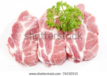 pork steak on white background