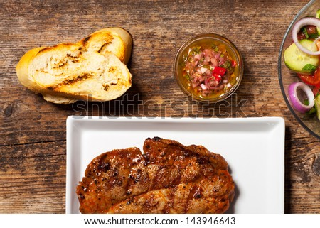 pork steak with chimichurri sauce