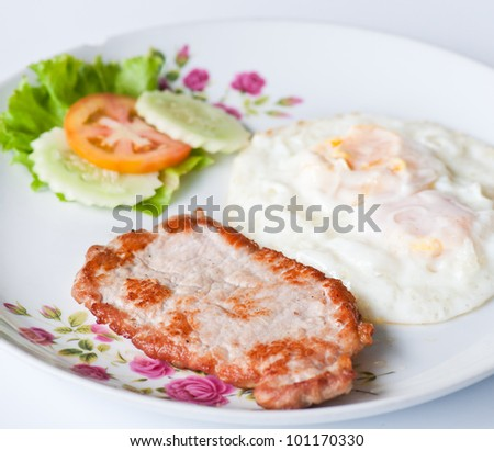 Pork Steak With Fried Eggs, Breakfast Stock Photo 101170330 ...