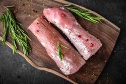 Pork tenderloin. Fresh raw meat prepared for cooking.
