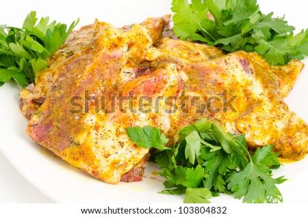 pork under hot mustard sauce - prepared food