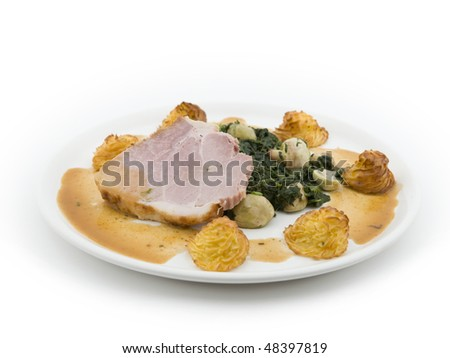 Pork with spinach and mushrooms