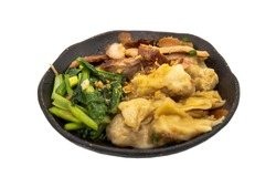 Pork wonton or pork dumplings with Roasted pork and Cantonese vegetables in plate isolated on white background with clipping path. Cantonese chinese food, Selective focus.