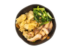 Pork wonton or pork dumplings with Roasted pork and Cantonese vegetables in plate isolated on white background with clipping path. Cantonese chinese food, Top view, Selective focus.