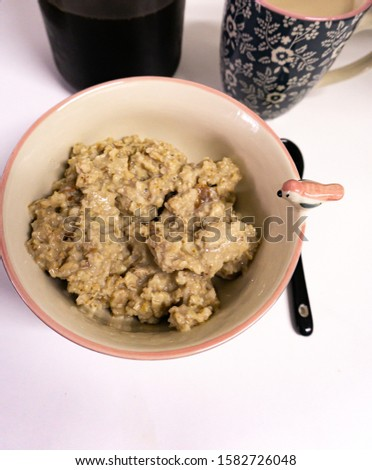 Porridge with a white background. organic food. Vegetarian Food