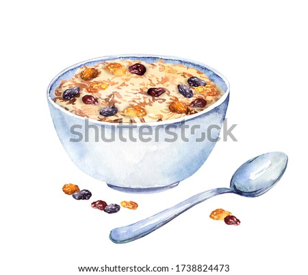Porridge with raisins. Bowl with granola, muesli, oat and dry fruits and spoon. Watercolor breakfast food with berries Stockfoto ©