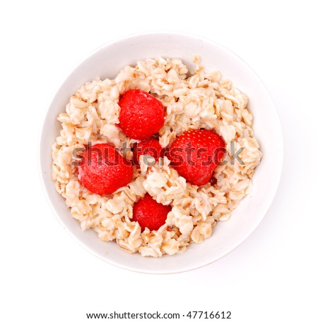 Porridge with strawberry isolate on white, healthy breakfast.