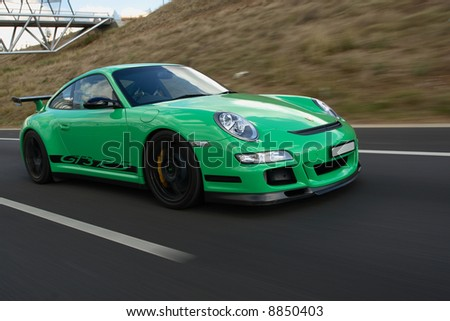 Porsche GT3 RS In Motion Front-on - stock photo